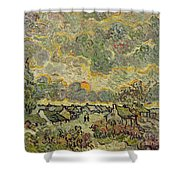 Autumn Landscape Shower Curtain by Vincent Van Gogh