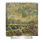 Autumn Landscape Shower Curtain by Vincent Van Gogh