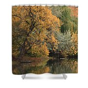 Autumn Riverbank Shower Curtain by Carol Groenen