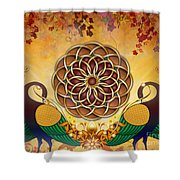 Autumn Serenade - Mandala Of The Two Peacocks Shower Curtain by Bedros Awak
