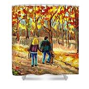Autumn  Stroll On Mount Royal Shower Curtain by Carole Spandau