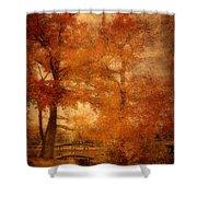 Autumn Tapestry - Lake Carasaljo Shower Curtain by Angie Tirado
