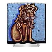 Baby Blue Byzantine Lion Shower Curtain by Genevieve Esson