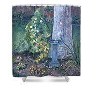 Backyard Shower Curtain by Paula Pagliughi