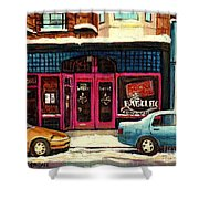 Bagels Etc Montreal Shower Curtain by Carole Spandau