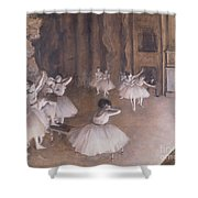 Ballet Rehearsal On The Stage Shower Curtain by Edgar Degas
