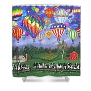 Balloon Race Two Shower Curtain by Linda Mears