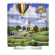 Ballooning In The Country One Shower Curtain by Linda Mears