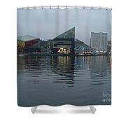 Baltimore Harbor Reflection Shower Curtain by Carol Groenen