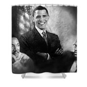 Barack Obama Martin Luther King Jr And Malcolm X Shower Curtain by Ylli Haruni
