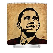 Barack Obama Original Coffee Painting Shower Curtain by Georgeta  Blanaru