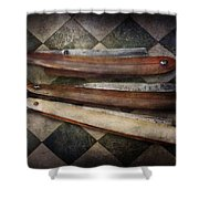 Barber - The Razor Shower Curtain by Mike Savad