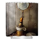 Barber - The morning shave  Shower Curtain by Mike Savad