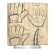 Baseball Glove Patent 1910 Shower Curtain by Digital Reproductions