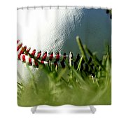 Baseball In Grass Shower Curtain by Chris Brannen