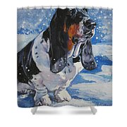 basset Hound in snow Shower Curtain by Lee Ann Shepard