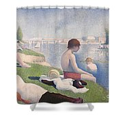 Bathers At Asnieres Shower Curtain by Georges Pierre Seurat