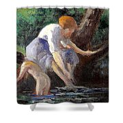 Bathing Shower Curtain by Maximilien Luce