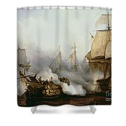 Battle Of Trafalgar Shower Curtain by Louis Philippe Crepin