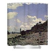 Beach at Honfleur Shower Curtain by Claude Monet