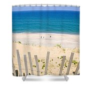 beach fence and ocean Cape Cod Shower Curtain by Matt Suess