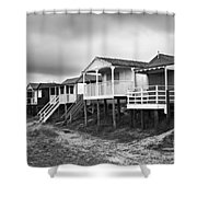 Beach Huts North Norfolk UK Shower Curtain by John Edwards