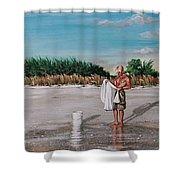 Bean Point  Shower Curtain by Joan Garcia