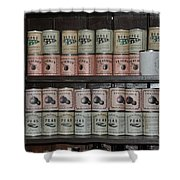 Beans Peaches Tomatoes And Peas Shower Curtain by Bill Cannon