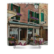 Beautiful Restaurant In Venice Shower Curtain by Charlotte Blanchard