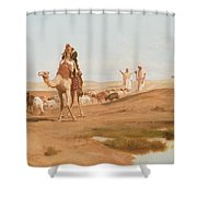 Bedouin In The Desert Shower Curtain by Frederick Goodall