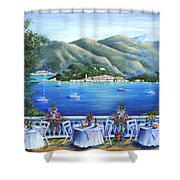 Bellagio From The Cafe Shower Curtain by Marilyn Dunlap