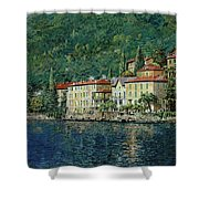 Bellano On Lake Como Shower Curtain by Guido Borelli