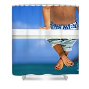 Bench By The Ocean Shower Curtain by Dana Edmunds - Printscapes