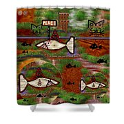 Beware of the dog Shower Curtain by Pepita Selles