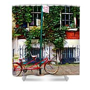 Bicycle Parking Sketch Shower Curtain by Randy Aveille