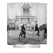 Bicycling, 1880s Shower Curtain by Granger