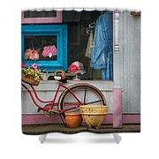 Bike - Lulu's Bike Shower Curtain by Mike Savad