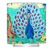 Bird People Peacock King And Peahen Shower Curtain by Sushila Burgess