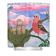 Bird People The Chaffinch Family Shower Curtain by Sushila Burgess