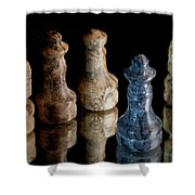 Black Chess King Defeated And Surrounded Shower Curtain by Marc Garrido