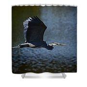 Blue Heron Skies  Shower Curtain by Saija  Lehtonen