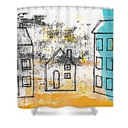 Blue House Shower Curtain by Linda Woods