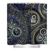Blue Machine Shower Curtain by Martin Capek