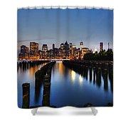 Blue Manhattan Shower Curtain by Andrew Paranavitana
