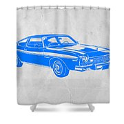 Blue Muscle Car Shower Curtain by Naxart Studio