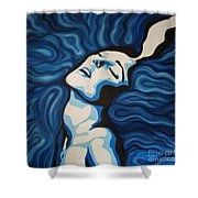 Blue Shimmers Shower Curtain by Jindra Noewi