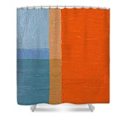 Blue Sky Around The Corner Shower Curtain by Michelle Calkins