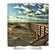 Boardwalk On The Beach Shower Curtain by Michael Thomas