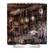 Boat - Block And Tackle Shop Shower Curtain by Mike Savad