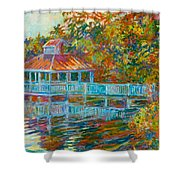 Boathouse At Mountain Lake Shower Curtain by Kendall Kessler